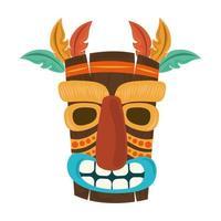 Decoração de pena de máscara tribal de madeira tiki isolada no fundo branco vetor