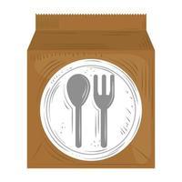 serviço de entrega rápida sacola de papel comida para viagem vetor