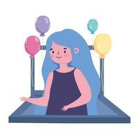 festa online, menina no laptop, celebração de videochamada
