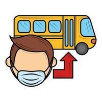 usando máscara médica em transporte público novo normal após coronavírus covid 19 vetor