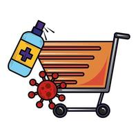 limpeza do carrinho de compras novo normal após coronavírus covid 19 vetor