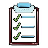 estilo isolado da lista de marcas de verificação da área de transferência vetor