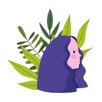 desenho animado da cabeça da menina do perfil com folhas da natureza vetor