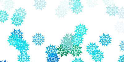 textura vector azul, verde claro com flocos de neve brilhantes.