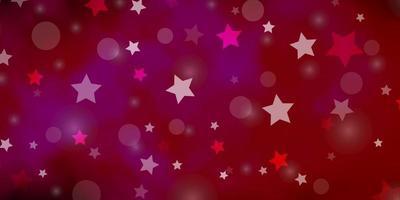 textura leve rosa vector com círculos, estrelas.