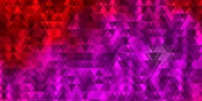 layout de vetor rosa claro com linhas, triângulos.