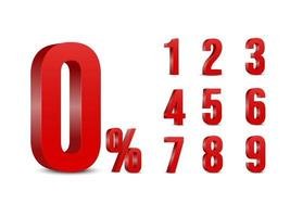 número vermelho porcentagem coleção 3d vetor
