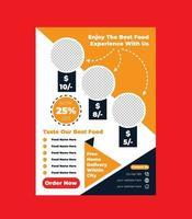 modelo de design de folheto de fast food para promoção de restaurante vetor