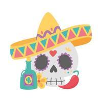 dia dos mortos, caveira com chapéu tequila pimenta e flor celebração mexicana vetor