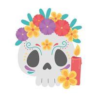 dia dos mortos, catrina com flores e celebração mexicana de velas