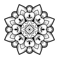 desenho de mandala preta em fundo branco vetor