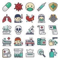 coronavírus e conjunto de ícones médicos vetor