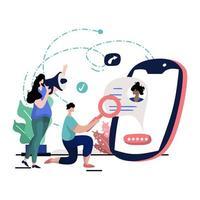 ilustração de presença online vetor