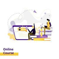 curso online de ilustração da página de destino vetor