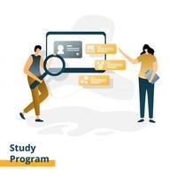 programa de estudo da página de destino vetor