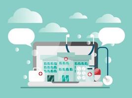 conceito de saúde online, clínica para consultor vetor