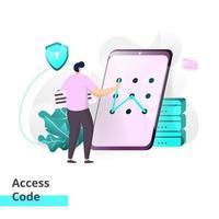 modelo de página de destino de código de acesso vetor