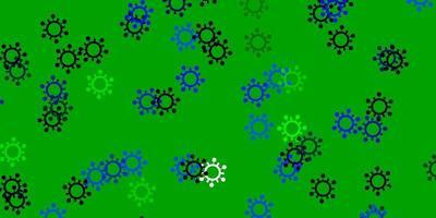 modelo de vetor azul claro e verde com sinais de gripe