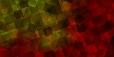 layout de vetor de luz vermelha e amarela com linhas, triângulos.