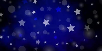 pano de fundo vector azul escuro com círculos, estrelas.