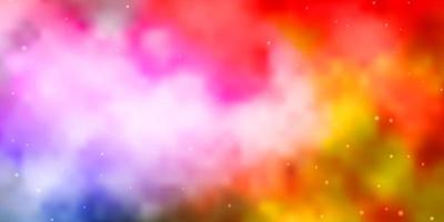 luz de fundo vector multicolor com estrelas pequenas e grandes.