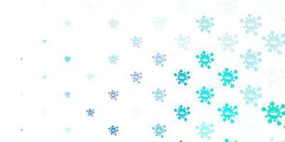 padrão de vetor azul claro e verde com elementos de coronavírus