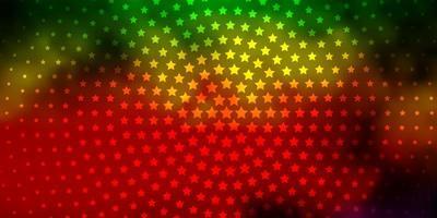 modelo de vetor multicolor escuro com estrelas de néon.