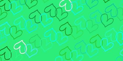 textura de vetor verde claro com corações adoráveis.