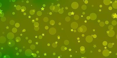 textura de vetor verde e amarelo claro com círculos, estrelas.
