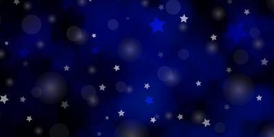 textura vector azul escuro com círculos, estrelas.