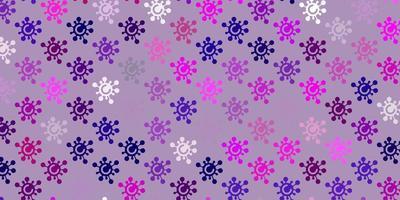 pano de fundo vector rosa claro roxo com símbolos de vírus.