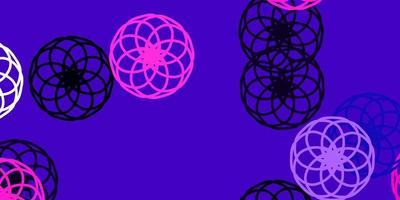 layout de vetor roxo claro, rosa com formas de círculo.