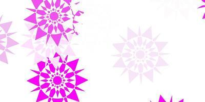 modelo de vetor rosa claro com flocos de neve de gelo.