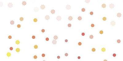 layout de vetor laranja claro com flocos de neve lindos.