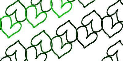 cenário de vetor verde claro com corações doces.