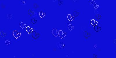 padrão de vetor roxo claro com corações coloridos.