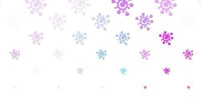 fundo de vetor rosa claro, azul com símbolos de vírus