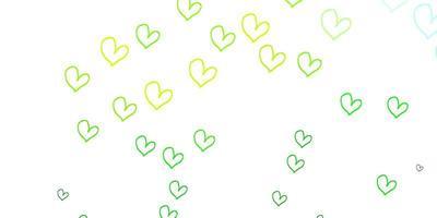 luz verde, amarelo padrão de vetor com corações coloridos