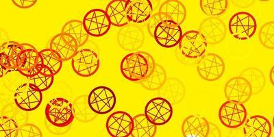 textura de vetor amarelo claro com símbolos de religião.