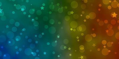 pano de fundo azul claro e amarelo do vetor com círculos, estrelas.