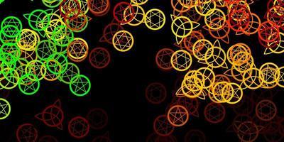 padrão de vetor verde e amarelo escuro com elementos mágicos.