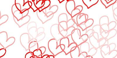 textura vector vermelho claro com corações adoráveis.