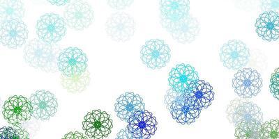 cenário natural de vetor azul e verde claro com flores.