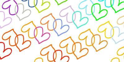 luz de fundo vector multicolor com corações brilhantes.
