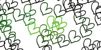 fundo verde claro do vetor com corações.