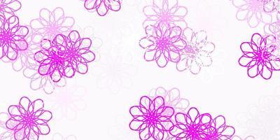 modelo de doodle de vetor rosa claro com flores.