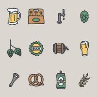 ícones de cerveja de artesanato vetor