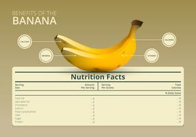 Ilustração de uma etiqueta de informações nutricionais com uma fruta de banana