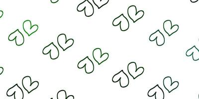 modelo de vetor verde claro com corações de doodle.