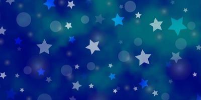 padrão de vetor azul claro com círculos, estrelas.